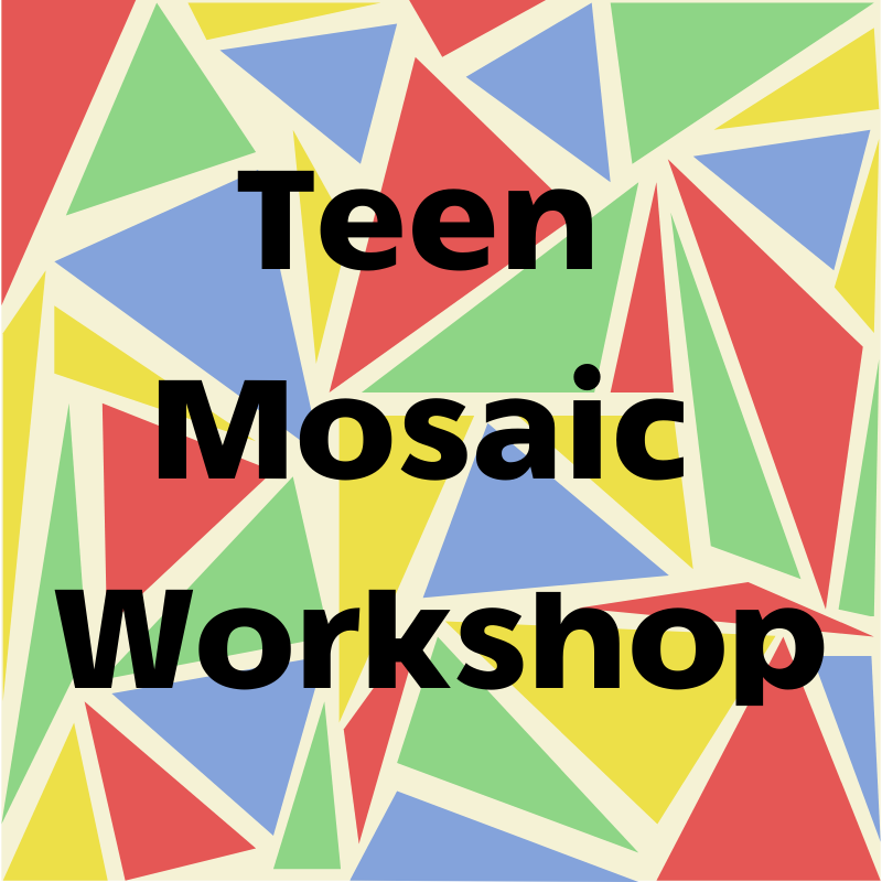 Teen Mosaic Workshop with colorful mosaic tiles.